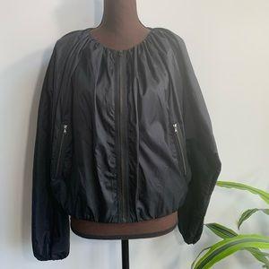 COS Bubble Bomber Jacket Coat Zip Pockets Ruched